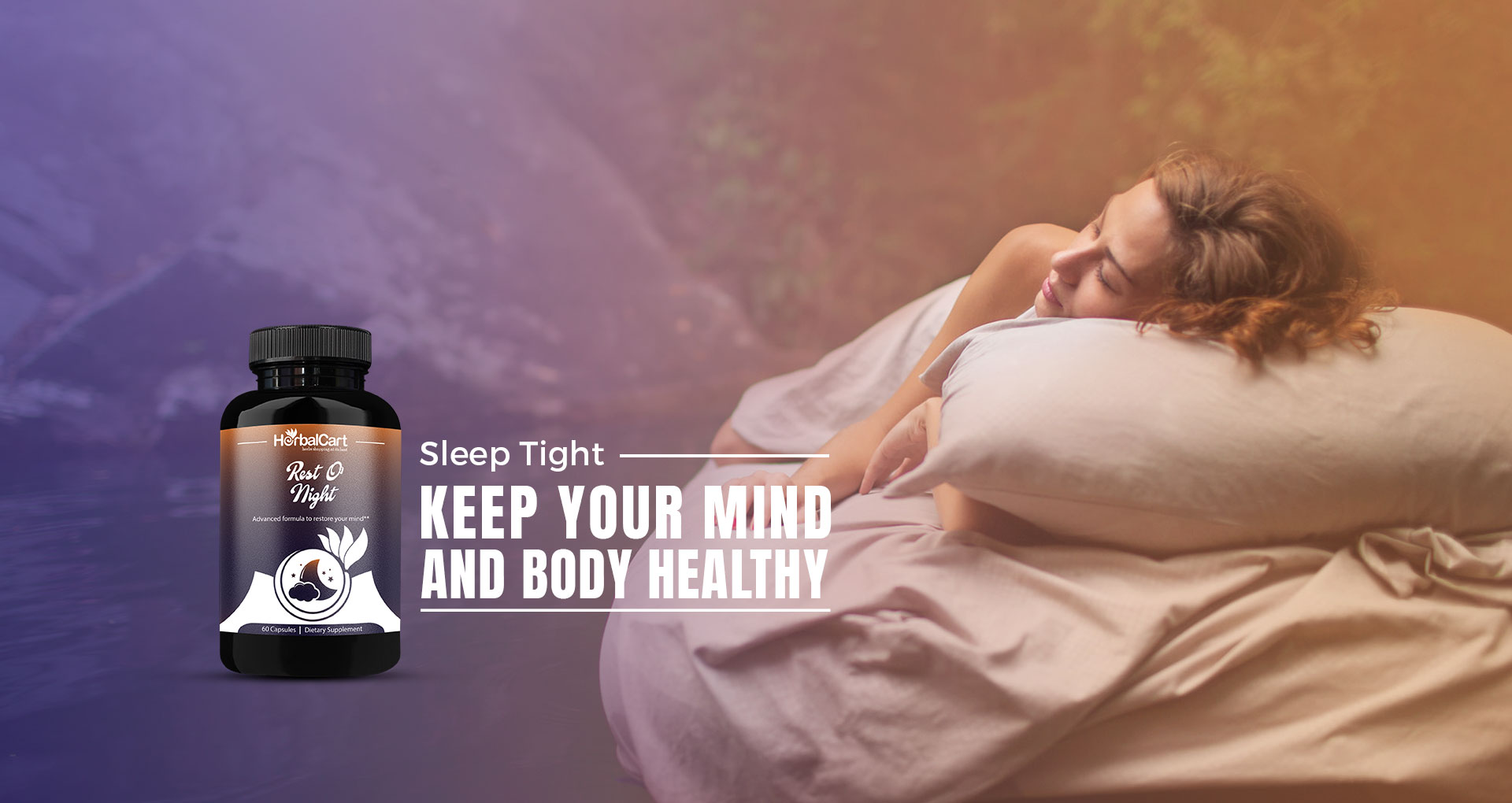 sleeping woman by herbal supplement Rest o Night