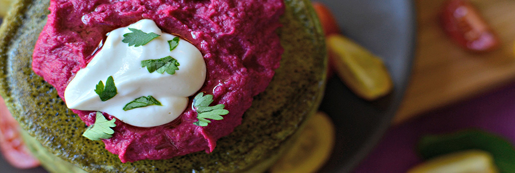 Beetroot Punched In Pancakes